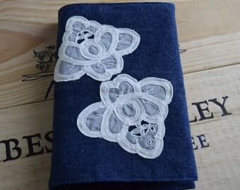 Fabric book cover, denim book cover, modern notebook cover, gift idea
