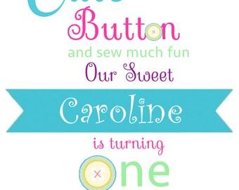 Cute as a Button 1st Birthday Invitation