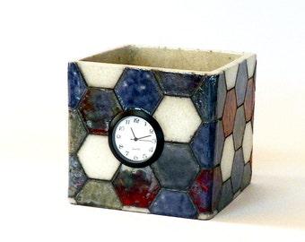 Raku ceramic table clock #7