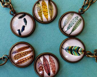 Feather necklace, boho pendant, folk jewellery, festival style, memory necklace