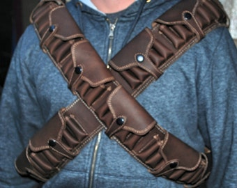 Shoulder holsters bandoliers,  22 gauge shells, Flap over the cartridges, 2 Leather Bandoliers with loop extension, custom, genuine leather,