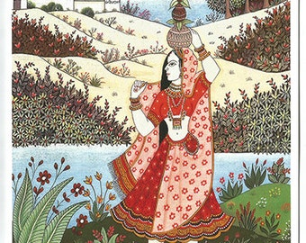 Rajasthani village woman. Fine art card