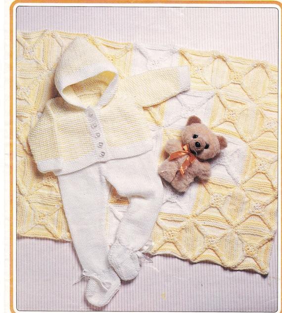 Vintage Baby Blanket Knitting Patterns : Baby Vintage Pram set with Blanket knitting Pattern PDF fits