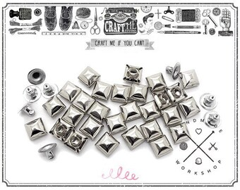 50PCS 10-12MM SILVER SQUARE DOME Pyramid Rivets Studs Nailhead.