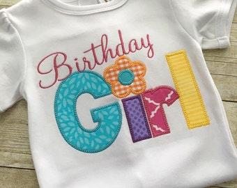 Birthday shirt for Girls - Girl Birthday outfit - Birthday Girl - First Birthday girl - Applique Embroidered Birthday girl shirt