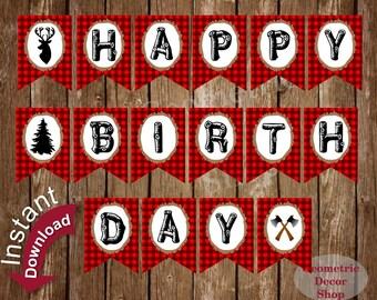 Happy Birthday Banner Instant Download Printable Lumberjack Rustic plaid Lumber Jack Digital Boy Girl Buffalo Plaid party #BNLJ1