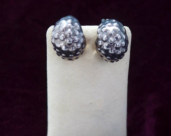 Sterling Silver Earrings  Baubles Silver Nuggets Dinner Date Jewelry Black Dress Up V. Good