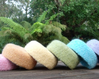 Felted Wool Bowls / Pastel Rainbow Bowls - set of 6