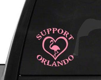 Pink Support Orlando Flamingo (F25) Vinyl Decal Sticker Car/Truck Laptop/Netbook Window