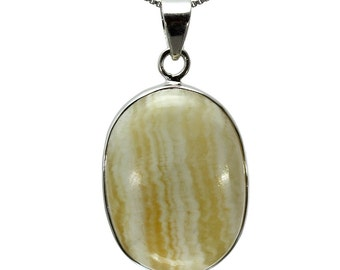 Aragonite Pendant, 925 Sterling Silver, Unique only 1 piece available! color yellow, weight 10.7g, #27221