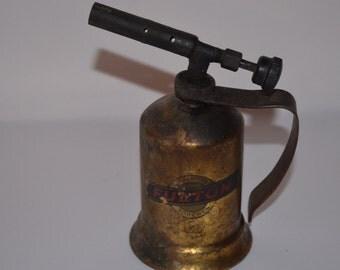 Vintage Fulton Gasoline Torch, Industrial Torch, Steampunk, Vintage Workshop, Repurpose Industrial Torch