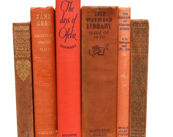Set of 6 Vintage Shabby Chic ORANGE DECORATIVE BOOKS Centerpiece Instant library home decor Interior design photo prop rustic 1930's 1920's