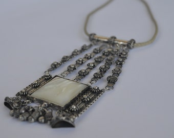 Silver filigree polished white Abalon necklace