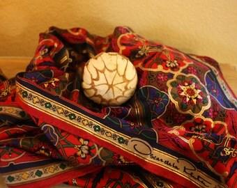 Gorgeous Oscar de la Renta Silk Scarf Moroccan design with Gold lines (S2)