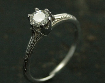 14K White Gold Engagement Ring--Ariel's Ring--Moissanite Engagement Ring--Vintage Style Six Prong Solitaire--Engraved Knife Edge Ring