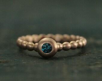 Rose Gold Ring--Blue Diamond Ring--Teal Blue Diamond--Unique Engagement Ring--Diamond Stacker--Diamond Bubble Ring--Beaded Diamond Ring