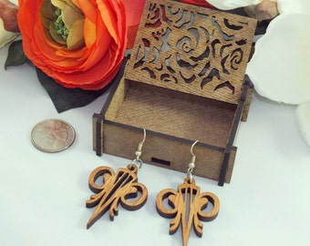 Laser cut wood earrings #15