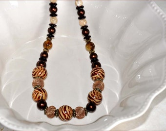 Wood Tiger Beads, Tiger Stripe Beads, 21 Inch Necklace, Mother of Pearl, Brown Bead Necklace, Dark Cherry Beads, Glass Bead Necklace