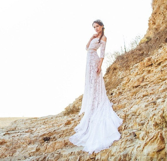 Items similar to Boho Crop Top Wedding Dress in French Lace and ...
