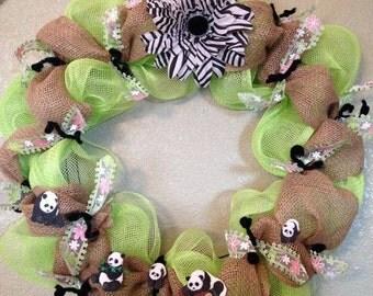 Panda Wreath, Pandas Wreath, Animals Wreath, Panda, Zoo