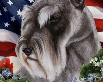 Schnauzer Grey Cropped - Tamara Burnett Patriotic Large Flag 28 x 40