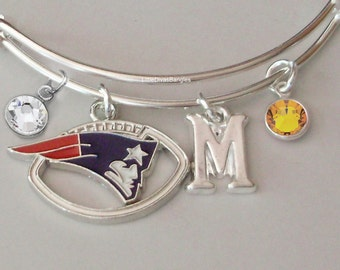 NFL Patriot CHARM Bangle W/ Birthstones / Initial Football Charm Bangle / Bracelet - Patriots Bracelet -Gift For Her NFL Bangle  Usa Sp1