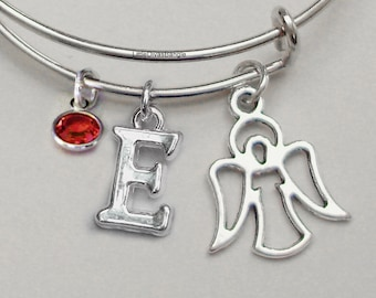 Angel  - CHRISTMAS Adjustable Bangle / W/ Birthstone / INITIAL Personalize Your  Bracelet  Gift For Her Under 20 -USA - W1
