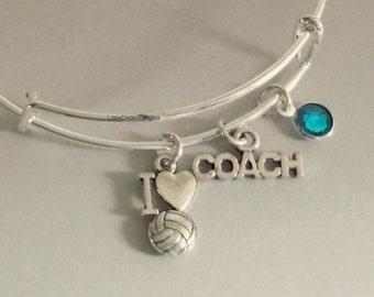 I LOVE VOLLEYBALL / Coach  Bangle Bracelet  W/ A Birthstone /  Under Twenty / Sports Team Gift  Usa  S1