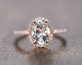 6x8mm Oval Cut Aquamarine Ring Aquamarine Halo Ring,Aquamarine Engagement Ring Solid 14k Rose Gold