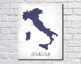 Italy Map Print Map of Italy Country Map Poster Italian Gift Home Decor Wall Art