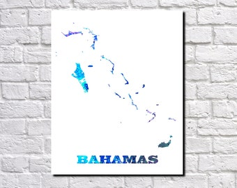 The Bahamas Map Paint SplashesBahamas Art Print Home Office Bahamas Decor Bahamas Country Outline