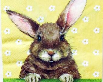 napkin for decoupage Bear Teddy decoupage paper napkins Easter Bunny Rabbit