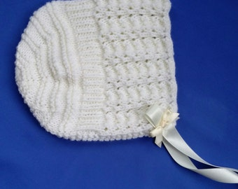 Baby Girl's Bonnet with Ribbon Ties
