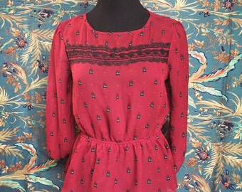 Red & Black Lace Blouse Size SMALL