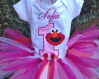 Elmo Birthday Outfit Elmo Birthday Shirt Tutu FREE Hair Bow Personalized Elmo 1st Birthday Shirt Outfit Girls 1st Birthday