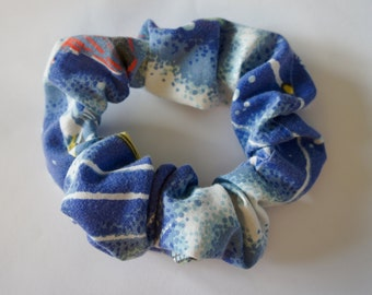 Handmade Vintage Outer Space Fabric Large Scrunchie Elastic Hair Band