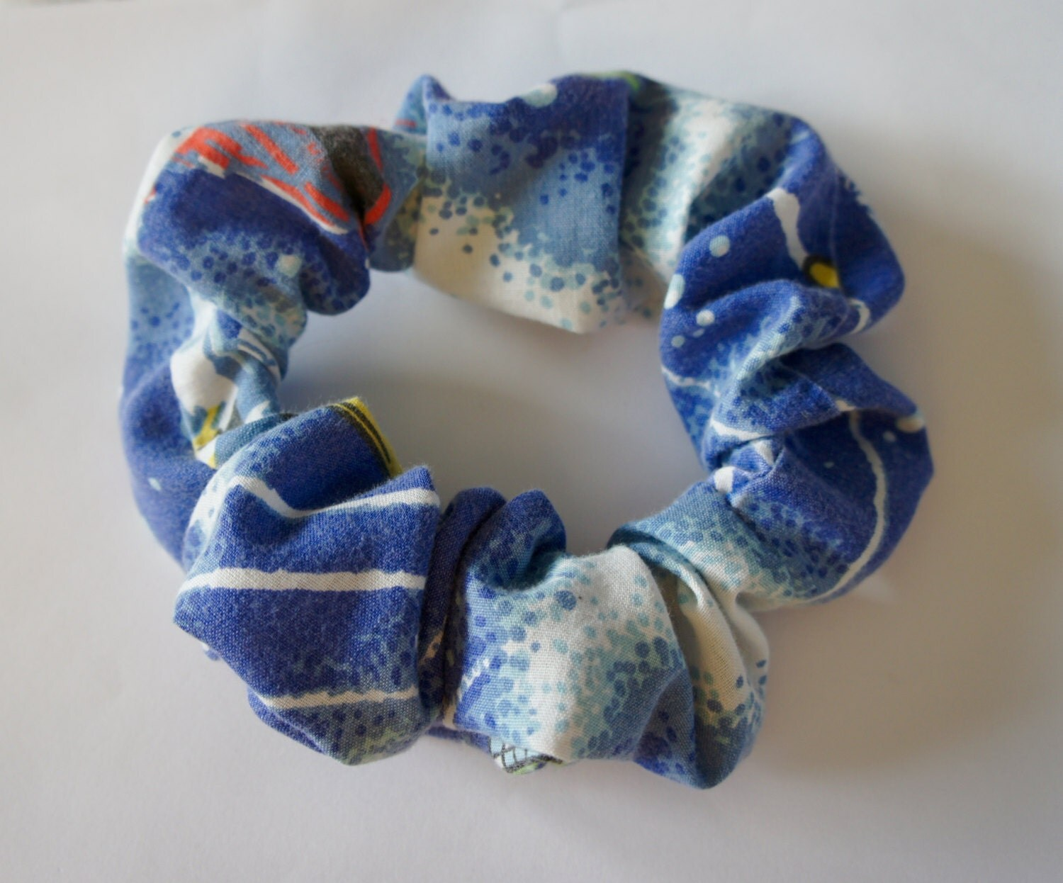 Handmade vintage outer space fabric large scrunchie elastic for Vintage space fabric