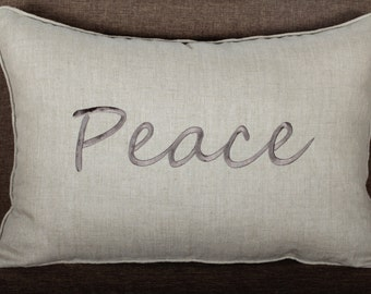Peace Embroidered Lumbar Pillow Cover
