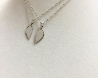 Sterling Silver Broken Heart Necklaces. Two Sterling Silver Chains Included.