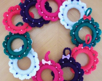 Sale - Reduced in Price. Crocheted Mini Wreaths - UK Seller!