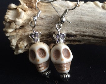 Gothic earrings skull and Crown