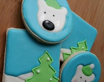 Winter Polar Bear Christmas tree Sugar Cookies