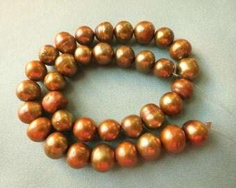 8.5mm Dark Gold Freshwater Pearls - 35 Pearls
