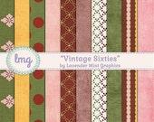 Vintage Sixties Digital Scrapbook Paper - Retro, Shabby Chic, Vintage, Textured, Floral, Polka Dots, Retro Colors, Rustic - Instant Download