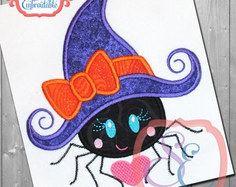 SPIDER WITCH HAT Applique Design For Machine Embroidery