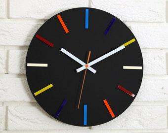 Wall Clock, COLORFUL, large wall clock, gift, wall decor, Modern clock, modern wall clock, Unique wall clocks, gift