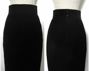 Cigarette Black Suede skirt