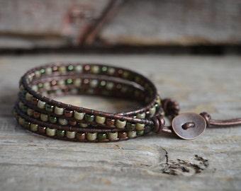 Leather Wrap Bracelet, Beaded Wrap Bracelet,  Boho Wrap Bracelet, Triple Wrap Beaded Bracelet, Beaded Leather Wrap, Bracelet Wraps