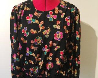 Vintage jewel printed 80s top