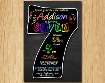 7th birthday invitation chalkboard invite rainbow colors seventh birthday party boy girl birthday DIGITAL FILE ONLY KNB035